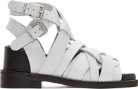 Acne Studios White Grained Leather Lenna Strappy Sandals