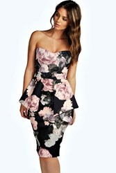 Boohoo Floral Bandeau Peplum Midi Dress Black