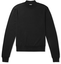 The Row Sean Slim Fit Silk And Cotton Blend Rollneck Sweater Black