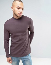 Asos Longline Muscle Long Sleeve T Shirt With Turtle Neck In Waffle In Mauve Dusted Truffle Purple
