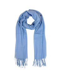 Mila Schon Long Scarves Light Blue Wool And Cashmere Fringed Stole