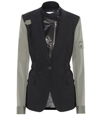 Veronica Beard Army Leather Dickey Blazer Black