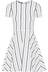 Opening Ceremony Clos Striped Textured Jersey Mini Dress White
