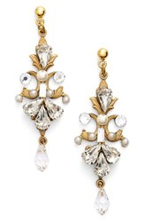 Women's Halo And Co Crystal And Faux Pearl Scroll Chandelier Earrings