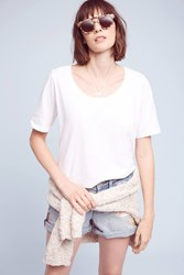 Anthropologie Scooped Jersey Tee White