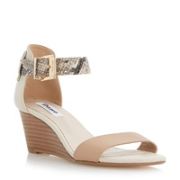 Dune Katy Stacked Heel Low Wedge Beige
