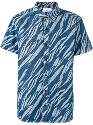 Les Benjamins Printed Short Sleeve Shirt Blue