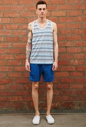 Forever 21 Bellfield Belted Chino Shorts Blue