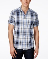 Inc International Concepts Mushburger Plaid Short Sleeve Shirt Only At Macy's White Pure