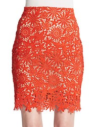 Elle Sasson Helen Lace Pencil Skirt Orange