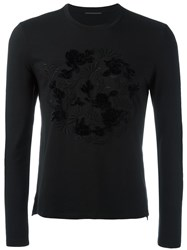 Ermanno Scervino Floral Embroidery Longsleeves T Shirt Black