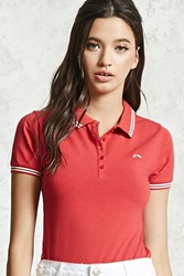 Forever 21 Rainbow Graphic Polo Shirt Red