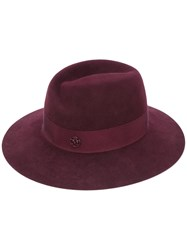 Maison Michel Virginie Fedora Hat Women Cotton Wool Felt M Red