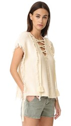 Pam And Gela Fringe Baja Sweater Cream