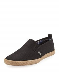 Ben Sherman New Jenson Linen Slip On Shoe Black