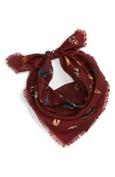 Treasure And Bond Print Square Silk Scarf Burgundy Feather Flow