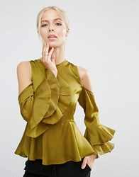 Asos Satin Top With Cold Shoulder And Ruffle Sleeve Olive Green