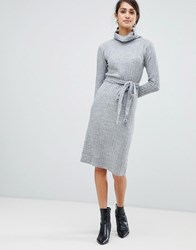 Girls On Film Knitted Midi Dress With Tie Front Detail Grey