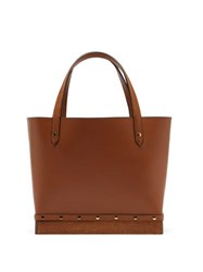 Altuzarra Clog Small Studded Leather Tote Bag Brown