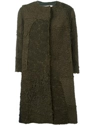 By Walid Hand Dyed Crocheted Panel Coat Green