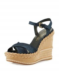 Stuart Weitzman Sundry Denim Platform Wedge Sandal Light