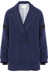 Band Of Outsiders Drop Shoulder Wool Blend Felt Coat Blue