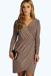 Boohoo Leah Slinky Wrap Front Dress Mocha
