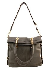 Erica Anenberg Sutton Leather Crossbody Tote Gray