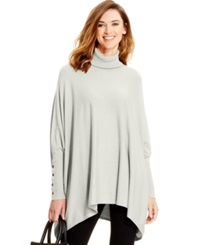 Alfani Petite Turtleneck Poncho Sweater Only At Macy's New Oatmeal Heather