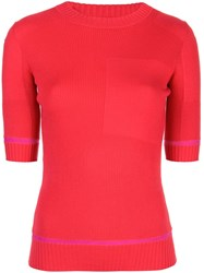 Proenza Schouler Ribbed Knit Short Sleeve Crewneck Top Red