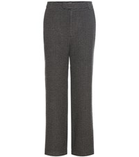 Ganni Duncan Houndstooth Wool Blend Trousers Grey