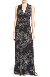 Women's Vince Camuto Floral Print Jersey Maxi Dress Rich Black