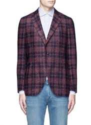 Isaia 'Sailor' Check Alpaca Wool Boucle Blazer Red
