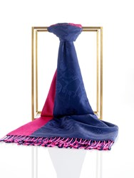 Shanghai Tang Lucky Charms Silk Pashmina Shawl With Tassel Navy