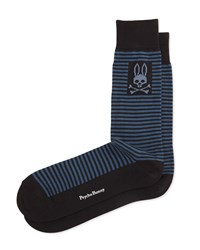 Thin Striped Socks Metallic Blue Psycho Bunny
