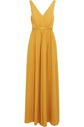 Saloni Renee Leather Trimmed Crepe Maxi Dress Yellow