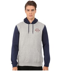 Brixton Eaton Hooded Fleece Heather Grey Navy Men's Sweatshirt Gray