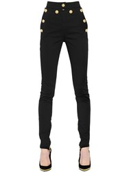 Balmain High Waisted Lion Buttons Cotton Pants