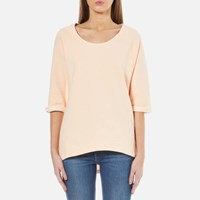 Maison Scotch Women's Home Alone Loose Fitted Short Sleeve Sweatshirt Rose White Pink