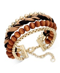 Inc International Concepts Gold Tone Mixed Media Wrap Bracelet Only At Macy's Black