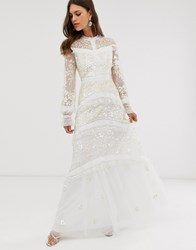 Needle And Thread Bridal Lace Maxi Dress With Button Detail In Ivory Blue