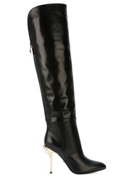 Versace Over The Knee Length Boots Black