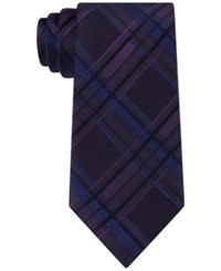 Calvin Klein Men's Indigo Plaid Tie Plum