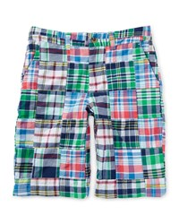 Ralph Lauren Cotton Patchwork Prospect Shorts White Blue Multicolor