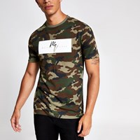 River Island Green Slim Fit Maison Riviera Camo T Shirt