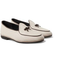 Rubinacci Marphy Leather And Suede Trimmed Linen Loafers Cream