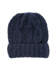 Selected Mottled Navy Shkenny Cable Knit Hat