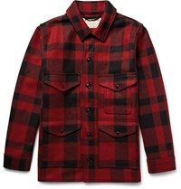 Filson Filon Cruier Buffalo Checked Mackinaw Wool Jacket Red