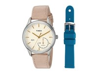 Timex Iq Move Leather Strap With Extra Silicone Strap Tan Cream Teal Watches Pink