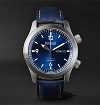 Bremont U2 Bl Automatic 45Mm Stainless Steel And Leather Watch Blue
